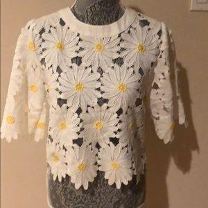 gracia Tops - Gracia Floral Eyelet Lace Shirt